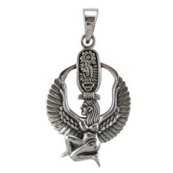 Sterling Silver 30x22mm Egyptian Winged Goddess Pendant