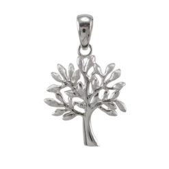 Sterling Silver 21x19mm Frosted Leaf Tree Of Life Pendant