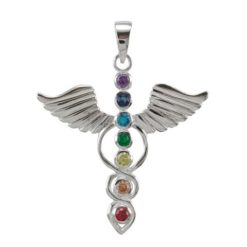 Sterling Silver 35x37mm Rainbow Cubic Zirconia Seven Chakra & Wings Pendant