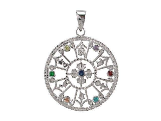 Sterling Silver 30mm Rainbow Cubic Zirconia Seven Chakra Pendant