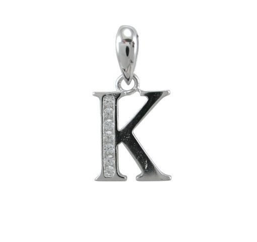 Sterling Silver 11mm White Cubic Zirconia Initial Letter *k* Pendant