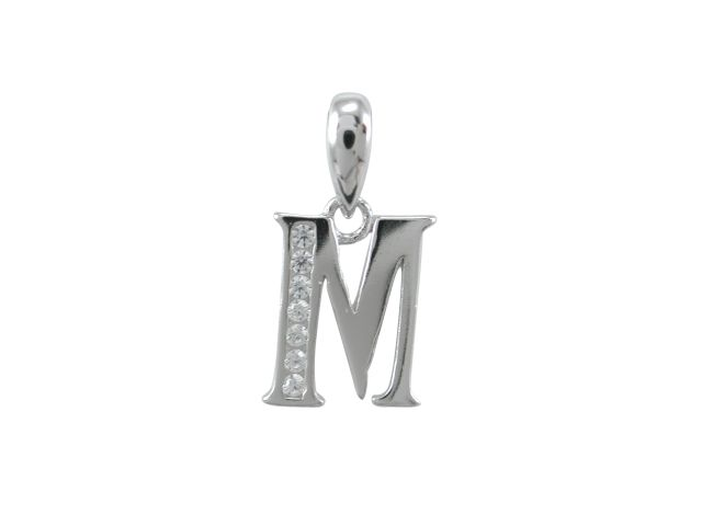 Sterling Silver 11mm White Cubic Zirconia Initial Letter *m* Pendant