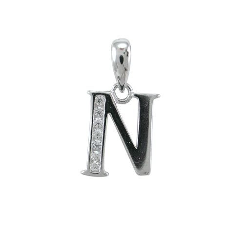 Sterling Silver 11mm White Cubic Zirconia Initial Letter *n* Pendant