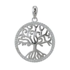 Sterling Silver 20mm White Cubic Zirconia Tree Of Life Pendant