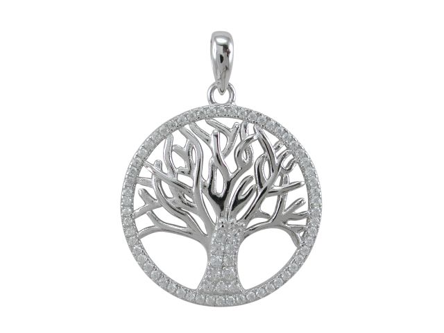 Sterling Silver 22mm White Cubic Zirconia Tree Of Life Pendant