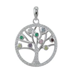 Sterling Silver 20mm Multi Colour Cubic Zirconia Tree Of Life Pendant