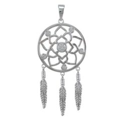 Sterling Silver 43x25mm White Cubic Zirconia Dream Catcher Pendant