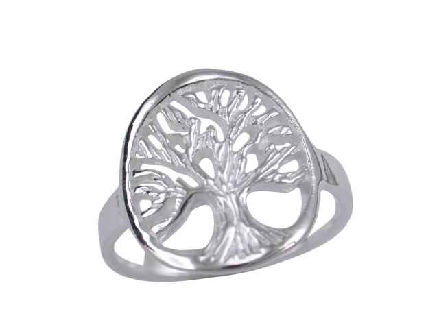 Sterling Silver 14mm Tree Of Life Ring
