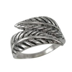 Sterling Silver 11mm Crossover Feather / Leaf Ring