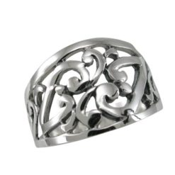 Sterling Silver 12mm Tapered Scroll / Floral Pattern Ring