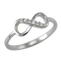 Sterling Silver 5.5mm White Cubic Zirconia Infinity Ring