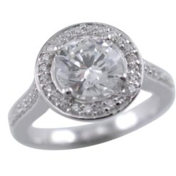 Sterling Silver 11mm White Cubic Zirconia Ring