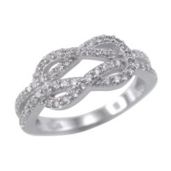 Sterling Silver 7mm White Cubic Zirconia Love Knot Ring