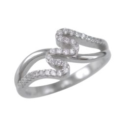 Sterling Silver 8mm Micro Set White Cubic Zirconia Zigzag Ring
