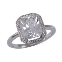 Sterling Silver 11mm White Cubic Zirconia Rectangle Ring