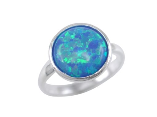 Sterling Silver 11mm Round Synthetic Opal Ring