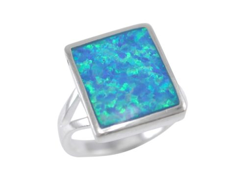 Sterling Silver 14x12mm Rectangle Synthetic Opal Ring