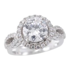 Sterling Silver 10mm Round White Cubic Zirconia Ring