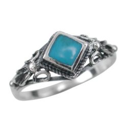Sterling Silver 8mm Blue Turquoise Ring