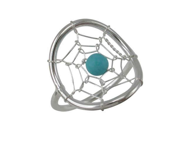 Sterling Silver 18mm Blue Turquoise Dream Catcher Ring
