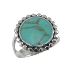 Sterling Silver 16mm Round Green Turquoise Ring