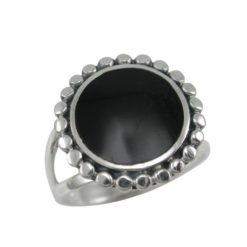 Sterling Silver 16mm Round Black Onyx Ring