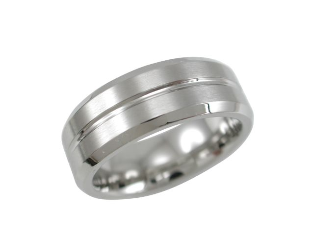 Stainless Steel 8mm Bevel Edge Matt Centre Ring