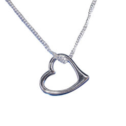 Sterling Silver 12mm Heart Necklet 39-42cm