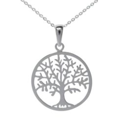 Sterling Silver 24mm Round Tree Of Life Necklet 40-45cm