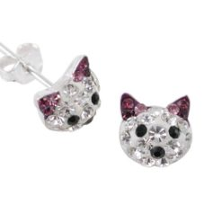 Sterling Silver 8mm Purple Crystal Cat Stud Earrings