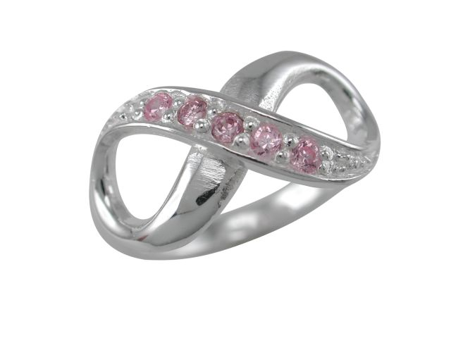 Sterling Silver 9mm Pink Cubic Zirconia Infinity Ring