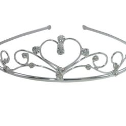 Silver Plated 36x143mm White Crystal Heart Tiara
