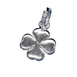 Sterling Silver 11x10mm Four Leaf Clover Charm With Split Ring