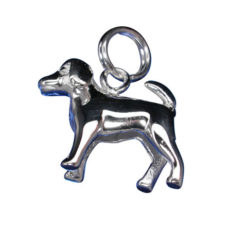 Sterling Silver 15x13mm Dog Charm With Split Ring