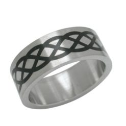 Stainless Steel 8mm Black Infinity Ring