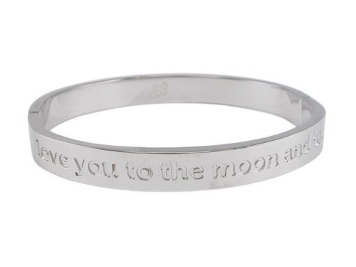 Stainless Steel 8mm Hinged Affirmation Bangle *love You To The Moon & Back* 62x55mm