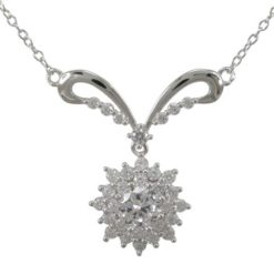 Sterling Silver 24x28mm White Cubic Zirconia Cluster Necklet 40-45cm