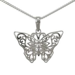 Sterling Silver 25x16mm Filigree Butterfly Necklet 40-45cm