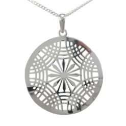 Sterling Silver 30mm Round Filigree Necklet 40-45cm