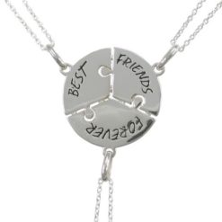 Sterling Silver 21mm Best Friends Forever Necklet (splits Into 3 Separate Necklaces Includes 3 Chains) 40-45cm