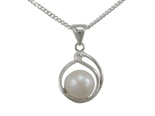 Sterling Silver 15x13mm Created Pearl Necklet 40-45cm