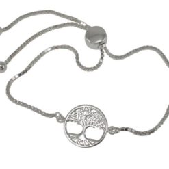 Sterling Silver 13mm Tree Of Life Slider Bracelet 15-22cm