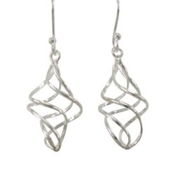 Sterling Silver 22x12mm Double Twist Drop Earrings