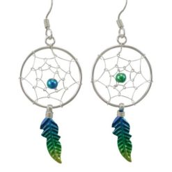 Sterling Silver 35x18mm Blue, Green & Yellow Anodised Single Feather Dream Catcher Drop Earrings