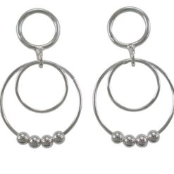 Sterling Silver 32x19mm Circles And Balls Stud Earrings