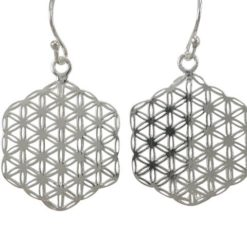 Sterling Silver 22mm Hexagonal Flower Of Life Drop Earrings