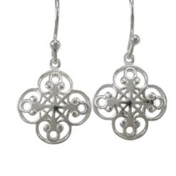 Sterling Silver 13mm Filigree Four Leaf Clover Drop Earrings