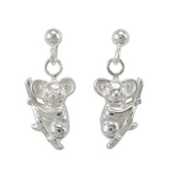 Sterling Silver 12x8mm Koala Dangling Stud Earrings