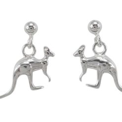 Sterling Silver 15x7mm Kangaroo Dangling Stud Earrings