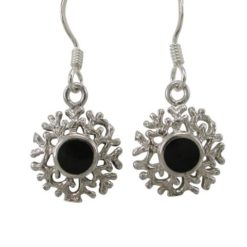Sterling Silver 12mm Black Onyx Frosted Drop Earrings
